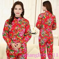 Womens Winter Cotton Linen Suits Chinese style Coats Pants Floral Print Jackets