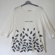 ZEDD..PLUS tolles Long Shirt Tunika A-Linie ecru graue Blätter 46-48 (3)