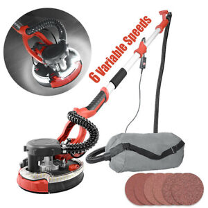 1250W Electric Telescopic Drywall Sander LED Dust Free Wall Ceiling Plaster Disc