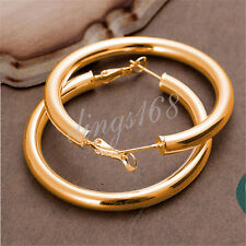 18K Gold Filled 5mm thick Round eXtra-Large 2inch Tubular Hoop Earrings H792G