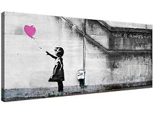 Large Pink Canvas Wall Art of Banksy Balloon Girl