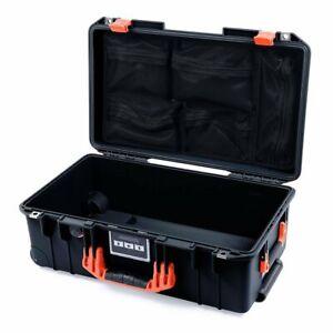 Black & Orange Pelican 1535 Air case with lid organizer. With wheels.