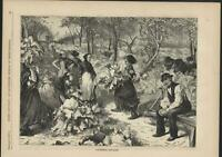 Gathering Rhubarb Agriculture Farming 1870 antique wood engraved print