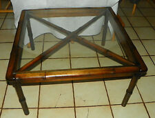 Mahogany Bamboo Rattan Style Coffee Table with Glass Top  (RP-CT133)