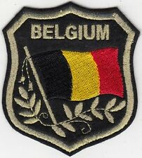 "BELGIUM Flag in shield Embroidered Patches 3.25""x2.75"""