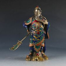 Chinese Cloisonne Handwork Carved Guangong Statue W QianLong Mark ZJ91#