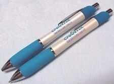 2 CHANTIX PEARL FINISH BLUE RUBBER GRIPS HEAVY METAL TEARDROP DRUG REP PENS NEW