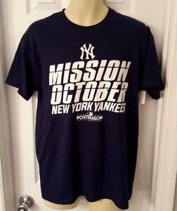 NEW YORK YANKEES T Shirt Medium Blue Tee Mission October Postseason World Series