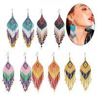 Vintage Women Bohemian Resin Seed Beads Tassel Dangle Earrings Ear Hook Jewelry