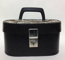 Hillmar Vintage 1960s Small Vanity Make Up Case Faux Leather Aztec Fabric Top