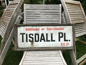 ORIGINAL 1930'S ENAMEL LONDON STREET ROAD SIGN TISDALL PLACE WALWORTH SE17