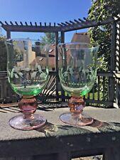 Terrific Pair Pfaltzgraff NAPOLI Green & Pink Iced Tea Glasses