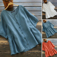 UK Womens Button Down Shirt Shorts Sleeve Solid Cotton Casual Loose Tops Blouse