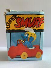 Vintage Rare Racing Smurf w Car Figure Peyo Schleich W Germany 1979, Boxed Rare