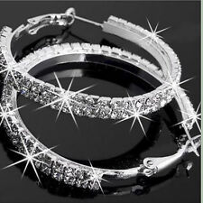 Large Hoop Earrings Diamante Bridal Round Rhinestone Silver 2 Rows Crystal Party