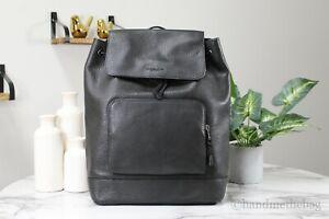 Coach (C1280) Turner Large Black Refined Pebbled Leather Drawstring Backpack Bag