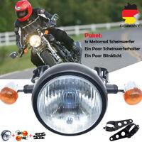 Motorrad Retro 6.5'' 35W Scheinwerfer Hi/Low Beam+Blinker+Harlter für Cafe Racer