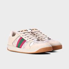 "NEW GUCCI GG "" SCREENER "" Monogram Web Stripe Lame Sneakers Trainers 38 577684"