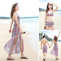 Women's 3 -piece Swimwear Bandage Bikini Set Padded Bra Swimsuit+Beach dress Hot