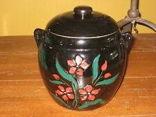 Vintage Stoneware Cylinder Cookie Jar w/Cold Paint Red Flowers Green Leaves