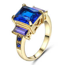Size 8 Blue Sapphire Big Stone Engagement Ring 18k Yellow Gold Filled Jewelry