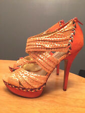 POETIC LICENCE High Heels Stilettos Snake Skin Mandarin Gold Sz 6 New Bonsai @