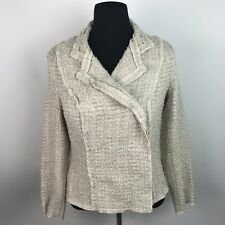Cabi Womens chenille Jacket Cream Beige #985 Double Breasted Snaps Sz M AP16