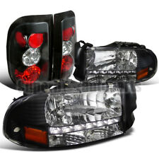 1997-2004 Dodge Dakota LED DRL Headlights+Tail Lights Brake Lamp Black