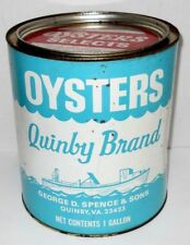Vintage Quinby Brand Oysters 1 Gallon Can, Quinby Va. 612