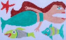 Folk Art Mermaid Hand Painted Needlepoint Canvas