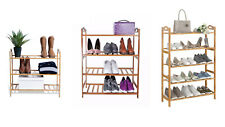 3/4/5 Tier Bamboo Shoe Rack Storage Organizer Wood Shelf Stand Plant Shelves OZ