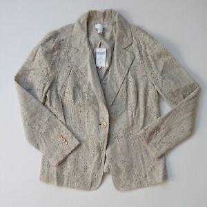 NWT Chico's Crochet Lace Blazer in Sandbar Beige Single Button Jacket 0 / US 4