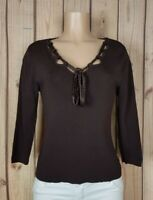 FINITY Womens Size Small 3/4 Sleeve Shirt Beaded Tie Neck Brown Ribbed Top