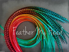 "Ombre Tie Dye  Feather Extensions Medium Length 7"" - 9"" Durango Mix"