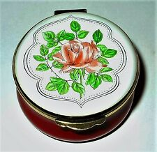 CRUMMLES ENGLISH ENAMEL BOX - FLOWERS - PINK ROSES - MOTHER'S DAY - ANNIVERSARY