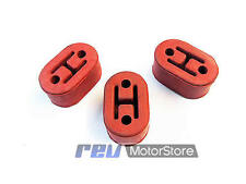 3 RED universal upgraded heavy duty exhaust rubber hanger support mounts