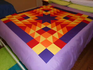"""new quilt TOP unfinished SW STAR """"October Fire"""" 48.5"""" Purple/Red/Orange/Yellow"""