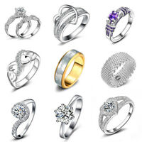 Fashion Women 925 Silver Plated Jewelry Crystal Wedding Engagement Band Rings