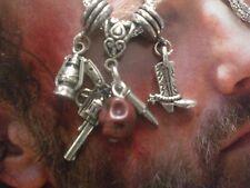 Walking Dead Rick Necklace Gun Bullet Zombie Cowboy Boot Lantern Charms