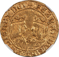 Spain Ferdinand & Isabella (1476-1516) Gold Double Excelente NGC MS-63