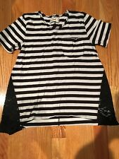 Abercrombie Kids Girls White And Black Striped Top Size  Xs (8) EEUC