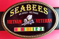 "Vietnam Veteran - SEABEES-"" We Build-We Fight"" Epoxy Belt Buckle - NEW"