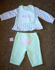 """NWT Girl's First Impressions Green """"Little Angel"""" 3 pc Velour Set 3-6 Months FS!"""