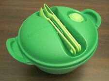 Tupperware microtup crystal wave to Go Harnais + couverts 1,5 l rond vert nouveau