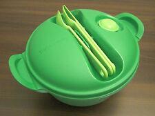 Tupperware Crystal Wave to Go Mikrowellengeschirr + Besteck 1,5 l rund grün Neu