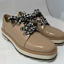 zara shoes FAUX PATENT LEATHER DERBY SHOES WITH BOW DETAIL size 36
