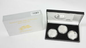 2006 US Mint American Silver Eagle Walking Liberty 20th Anniversary 3 Coin Set