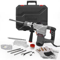 """1-1/4"""" SDS Plus Electric Rotary Hammer Drill Chisel Point & Flat Bits w/ Case"""