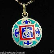 Pendentif Mandala rond coloré Amulette turquoise Buddha Tibet Népal a93