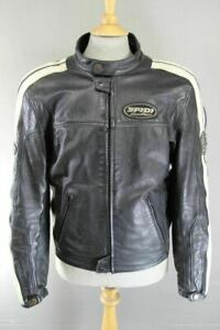 SPIDI BLACK & WHITE LEATHER BIKER JACKET WITH CE ARMOUR & THERMAL LINING 40 IN/L